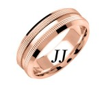 Rose Gold Dual Dotted Wedding Band 7mm RG-1559