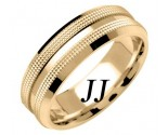 Yellow Gold Dual Dotted Wedding Band 7mm YG-1559