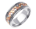 Tri Color Gold Hand Braid Wedding Band 8mm TC-155