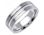 White Gold Dual Blasted Wedding Band 7mm WG-1560