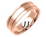 Rose Gold Dual Line Wedding Band 6.5mm RG-1561