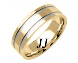 Two Tone Gold Dual Line Wedding Band 6.5mm TT-1561