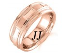 Rose Gold 2-Face Brick Wedding Band 6.5mm RG-1563