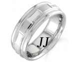 White Gold 2-Face Brick Wedding Band 6.5mm WG-1563