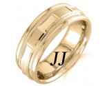 Yellow Gold 2-Face Brick Wedding Band 6.5mm YG-1563
