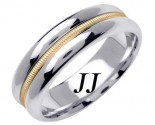 Two Tone Gold Single Braid Wedding Band 6.5mm TT-1565