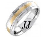 Two Tone Gold Line Blasted Wedding Band 6.5mm TT-1567