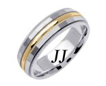 Two Tone Gold Milgrain Wedding Band 6.5mm TT-1568