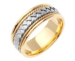 Two Tone Gold Hand Braided Wedding Band 8mm TT-156