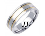 Two Tone Gold Dual Line Wedding Band 6.5mm TT-1572