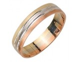Tri Color Gold Designer Wedding Band 5mm TC-1576