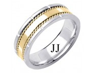 Two Tone Gold Designer Wedding Band 7mm TT-1584