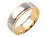 Two Tone Gold Designer Wedding Band 7mm TT-1586