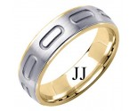Two Tone Gold Designer Wedding Band 6mm TT-1589