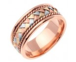 Tri Color Gold Hand Braid Wedding Band 8mm TC-159