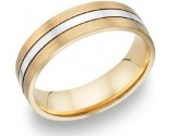 Two Tone Gold Brushed and Polished Wedding Band 6mm TT-161