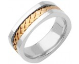 Two Tone Gold Hand Braided Wedding Band 7mm TT-162