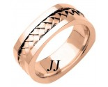 Rose Gold Hand Braided Wedding Band 7mm RG-162