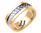Two Tone Gold Hand Braided Wedding Band 7mm TT-164
