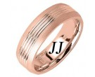 Rose Gold Carved Wedding Band 7mm RG-1651