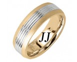 Two Tone Gold Carved Wedding Band 7mm TT-1651