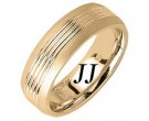 Yellow Gold Carved Wedding Band 7mm YG-1651