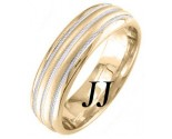 Two Tone Gold Twin Blade Wedding Band 6.5mm TT-1652