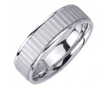 White Gold Ribbon Wedding Band 7.0mm WG-1654