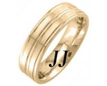 Yellow Gold Twin Blades Wedding Band 7mm YG-1657
