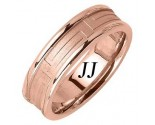 Rose Gold Maze Pattern Wedding Band 6.5mm RG-1658