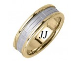 Two Tone Gold Maze Pattern Wedding Band 6.5mm TT-1658