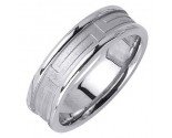White Gold Maze Pattern Wedding Band 6.5mm WG-1658