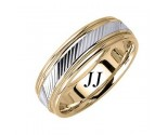 Two Tone Gold Slash Cut Wedding Band 6.5mm TT-1659