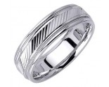 White Gold Slash Cut Wedding Band 6.5mm WG-1659