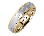 Two Tone Gold Stairway Design Wedding Band 6.5mm TT-1660