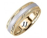 Two Tone Gold Dual Slash Cut Wedding Band 6.5mm TT-1661