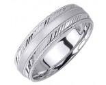 White Gold Dual Slash Cut Wedding Band 6.5mm WG-1661