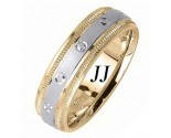 Two Tone Gold Dot Sandblast Wedding Band 6.5mm TT-1662