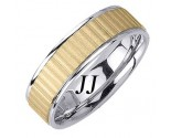 Two Tone Gold Ribbon Wedding Band 7.0mm TT-1667