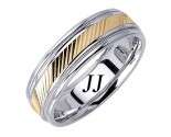 Two Tone Gold Slash Cut Wedding Band 6.5mm TT-1672