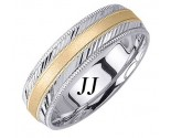 Two Tone Gold Dual Slash Cut Wedding Band 6.5mm TT-1674