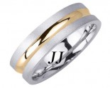 Two Tone Gold Single Blade Wedding Band 6.5mm TT-1676