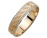 Two Tone Gold Dot Sandblast Wedding Band 5mm TT-1678