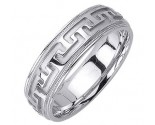 White Gold Big 'T' Wedding Band 6.5mm WG-1052