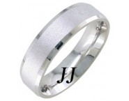 White Gold Sandblasted Wedding Band 6.5mm WG-1753