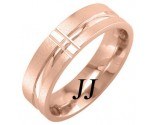 Rose Gold Cross Wedding Band 7mm RG-1754