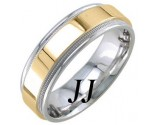 Two Tone Gold Polished Wedding Band 7mm TT-1761