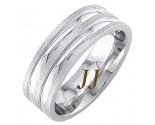 White Gold Dual Blade Wedding Band 7mm WG-1762