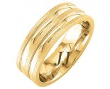 Yellow Gold Dual Blade Wedding Band 7mm YG-1762