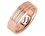Rose Gold 3-Row Milgrain Wedding Band 6.5mm RG-1763
